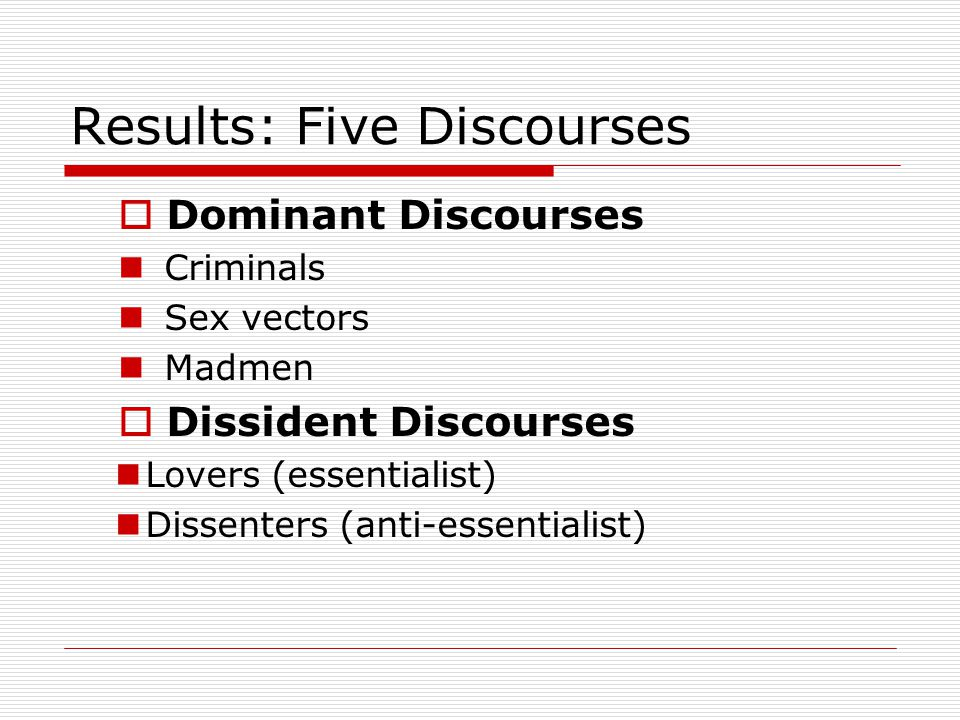 Results: Five Discourses  Dominant Discourses Criminals Sex vectors Madmen  Dissident Discourses Lovers (essentialist) Dissenters (anti-essentialist)