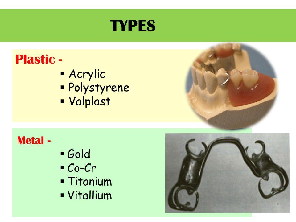 TYPES Metal -  Gold  Co-Cr  Titanium  Vitallium Plastic -  Acrylic  Polystyrene  Valplast