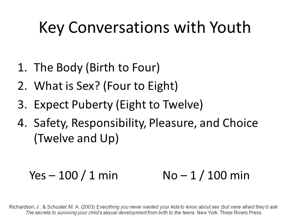 Key Conversations with Youth 1.The Body (Birth to Four) 2.What is Sex.