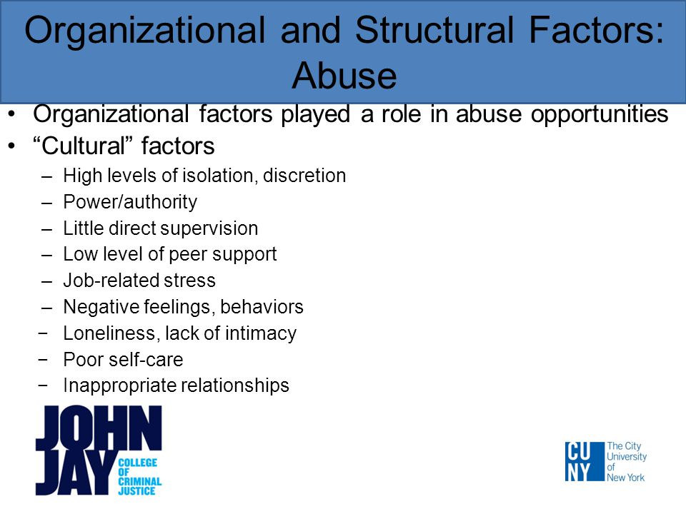 Organizational and Structural Factors: Abuse Organizational factors played a role in abuse opportunities Cultural factors –High levels of isolation, discretion –Power/authority –Little direct supervision –Low level of peer support –Job-related stress –Negative feelings, behaviors −Loneliness, lack of intimacy −Poor self-care −Inappropriate relationships