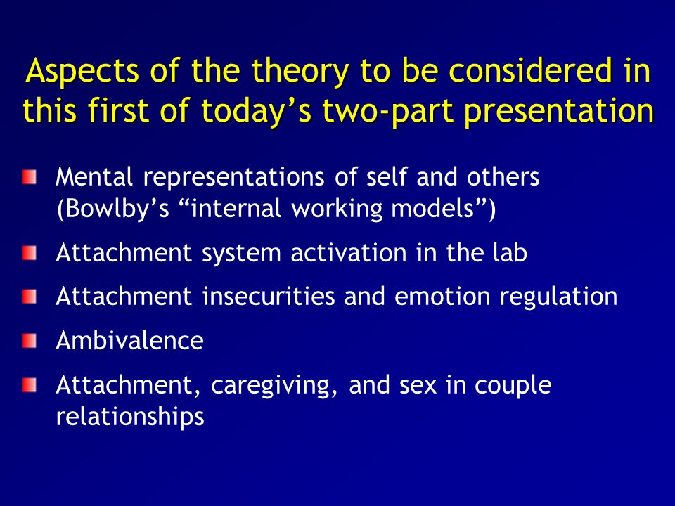 Aspects of the theory to be considered in this first of today's two-part presentation Mental representations of self and others (Bowlby's internal working models ) Attachment system activation in the lab Attachment insecurities and emotion regulation Ambivalence Attachment, caregiving, and sex in couple relationships