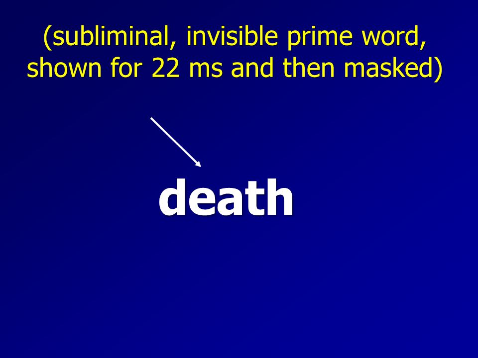 death (subliminal, invisible prime word, shown for 22 ms and then masked)