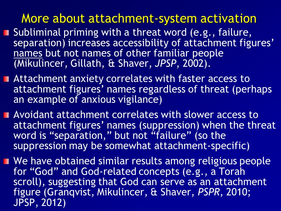 More about attachment-system activation Subliminal priming with a threat word (e.g., failure, separation) increases accessibility of attachment figures' names but not names of other familiar people (Mikulincer, Gillath, & Shaver, JPSP, 2002).
