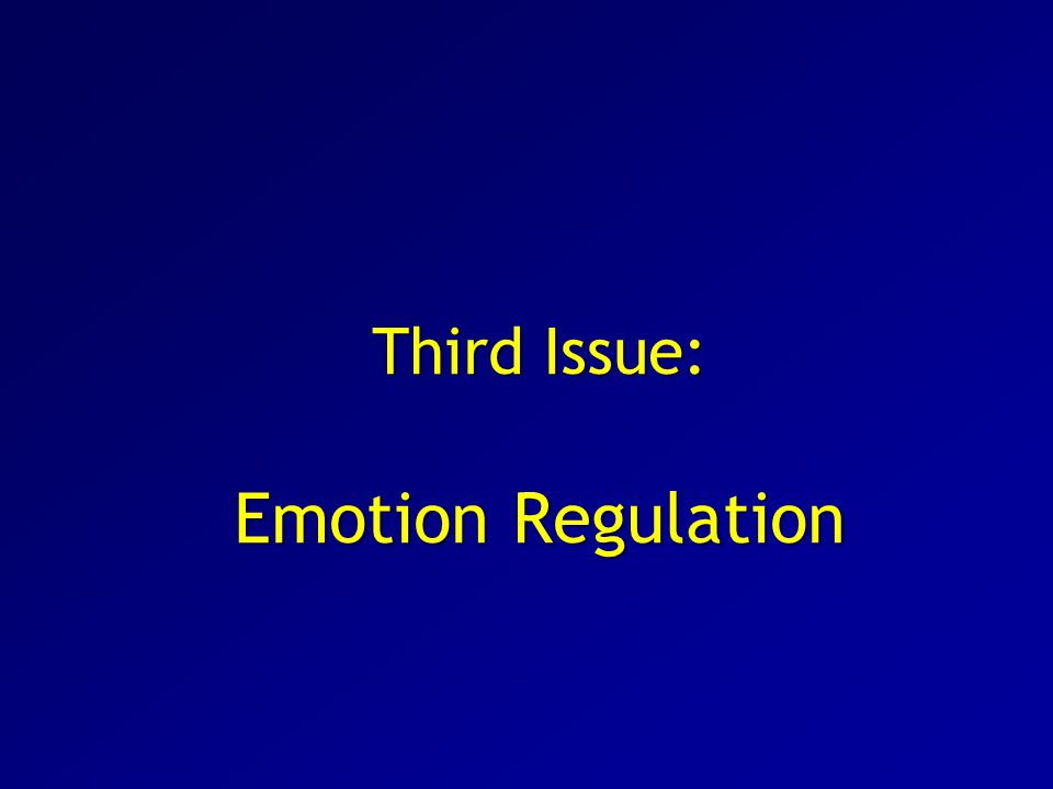 Third Issue: Emotion Regulation