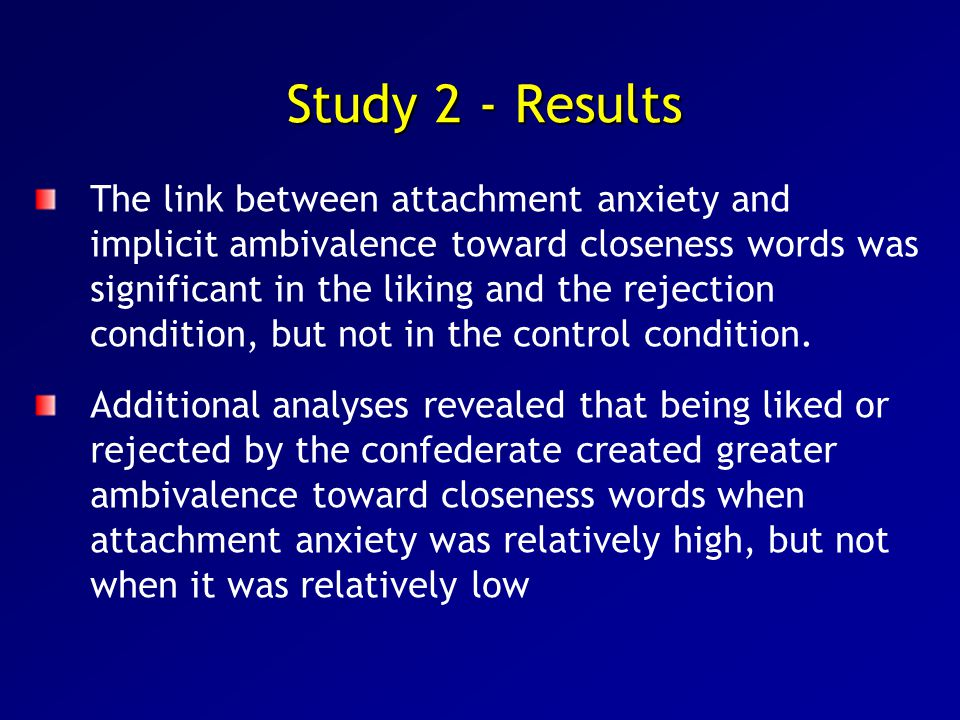 Study 2 - Results The link between attachment anxiety and implicit ambivalence toward closeness words was significant in the liking and the rejection condition, but not in the control condition.