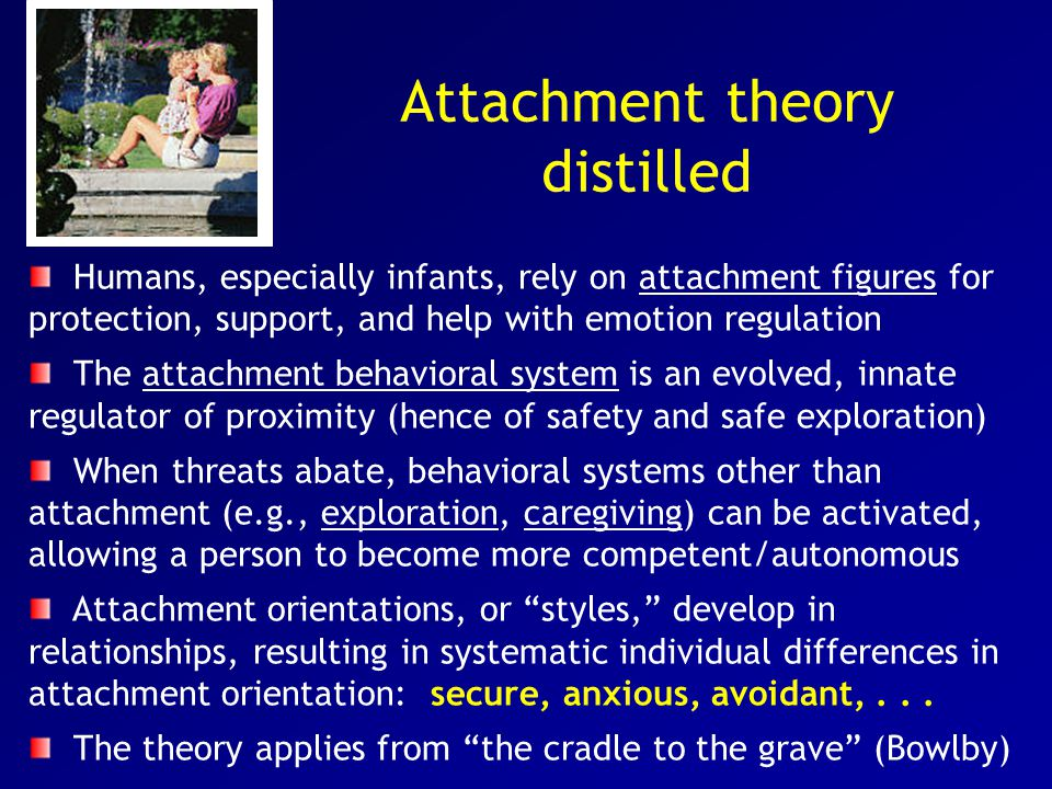 Attachment theory distilled Humans, especially infants, rely on attachment figures for protection, support, and help with emotion regulation The attachment behavioral system is an evolved, innate regulator of proximity (hence of safety and safe exploration) When threats abate, behavioral systems other than attachment (e.g., exploration, caregiving) can be activated, allowing a person to become more competent/autonomous Attachment orientations, or styles, develop in relationships, resulting in systematic individual differences in attachment orientation: secure, anxious, avoidant,...