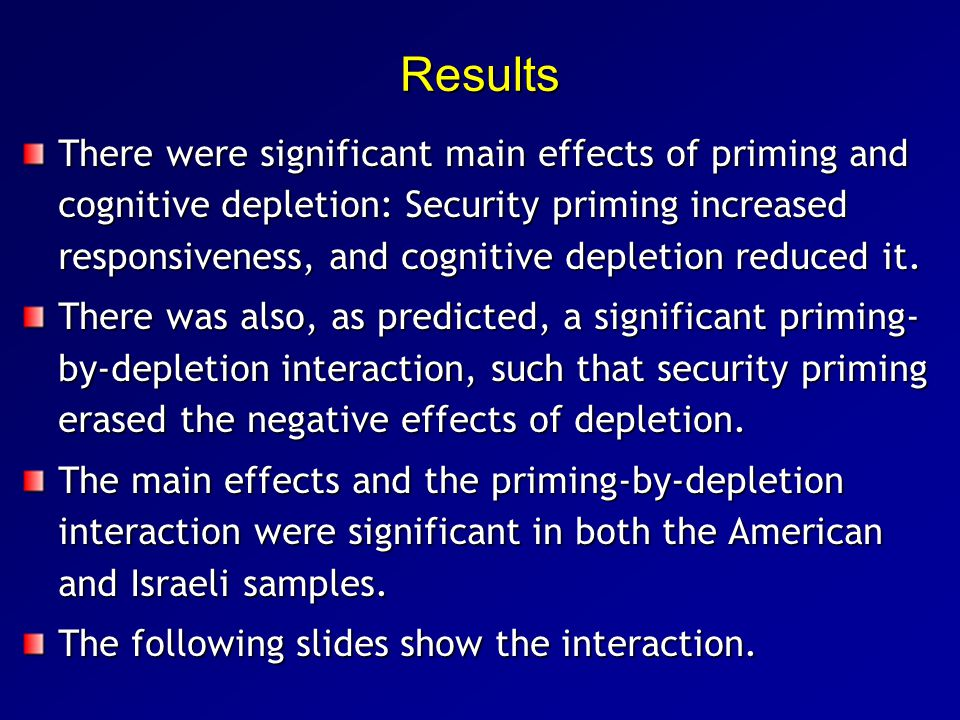 Results There were significant main effects of priming and cognitive depletion: Security priming increased responsiveness, and cognitive depletion reduced it.