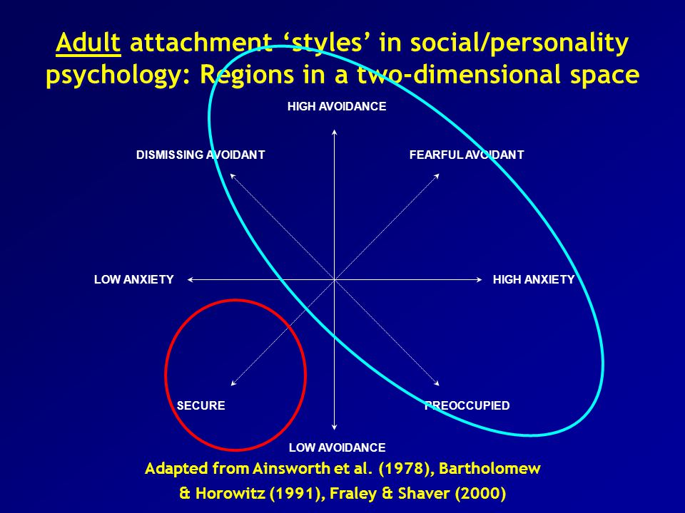 Adult attachment 'styles' in social/personality psychology: Regions in a two-dimensional space HIGH ANXIETY LOW AVOIDANCE DISMISSING AVOIDANTFEARFUL AVOIDANT PREOCCUPIEDSECURE LOW ANXIETY HIGH AVOIDANCE Adapted from Ainsworth et al.
