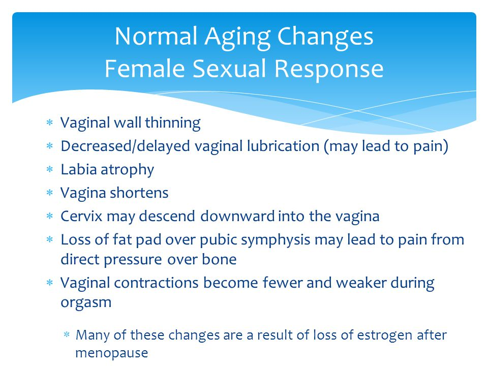  Vaginal wall thinning  Decreased/delayed vaginal lubrication (may lead to pain)  Labia atrophy  Vagina shortens  Cervix may descend downward int