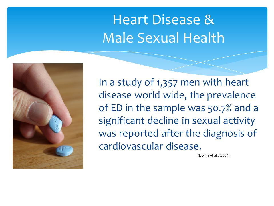In a study of 1,357 men with heart disease world wide, the prevalence of ED in the sample was 50.7% and a significant decline in sexual activity was r