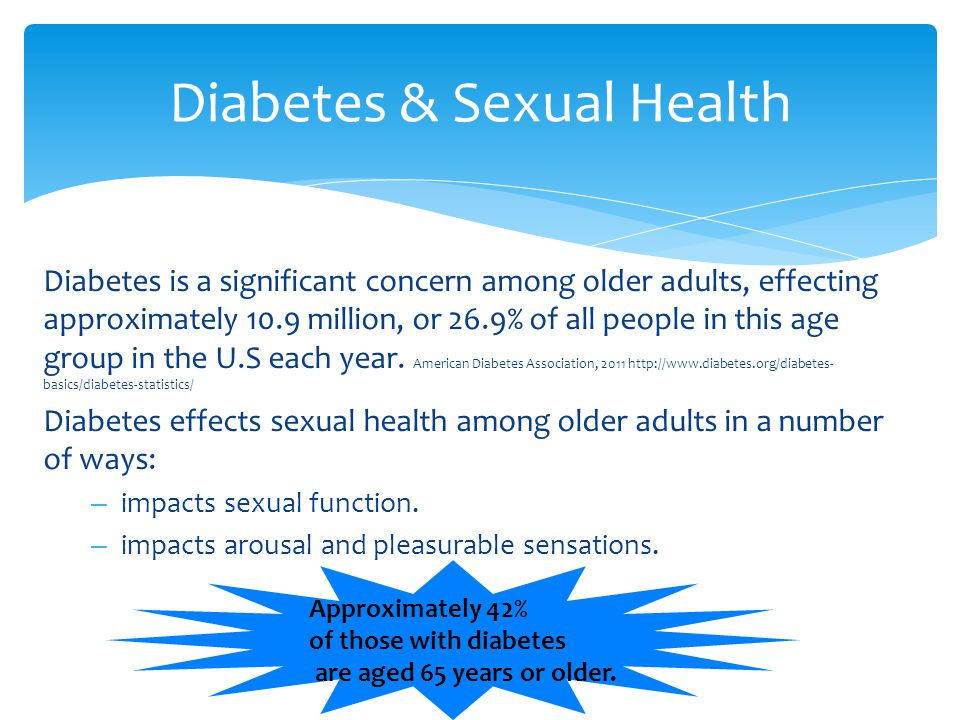 Diabetes is a significant concern among older adults, effecting approximately 10.9 million, or 26.9% of all people in this age group in the U.S each y