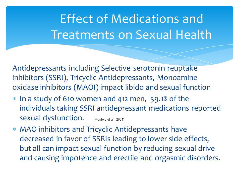 Antidepressants including Selective serotonin reuptake inhibitors (SSRI), Tricyclic Antidepressants, Monoamine oxidase inhibitors (MAOI) impact libido