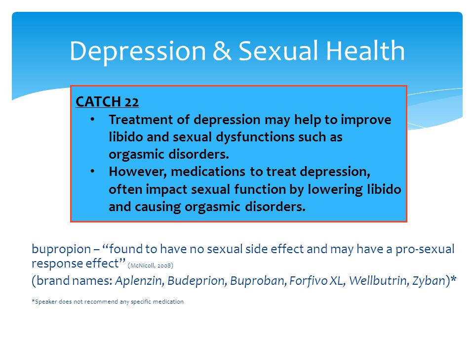 """bupropion – """"found to have no sexual side effect and may have a pro-sexual response effect"""" (McNicoll, 2008) (brand names: Aplenzin, Budeprion, Buprob"""
