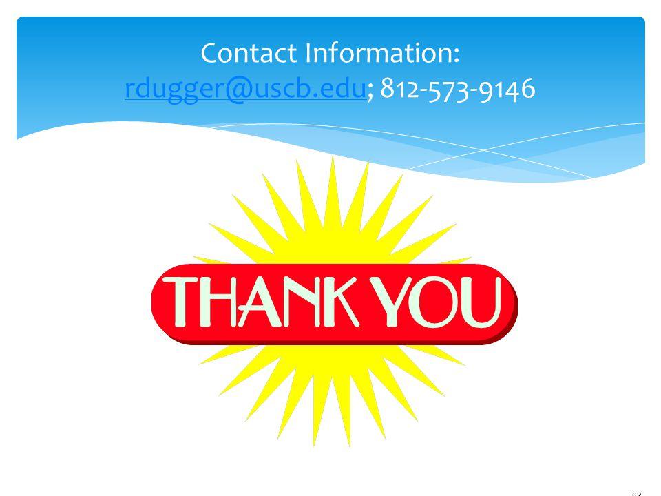 12/18/2006 9:45ameSlide - P3562 - AACN Hartford-sponsored Faculty Development 63 Contact Information: rdugger@uscb.edu; 812-573-9146 rdugger@uscb.edu