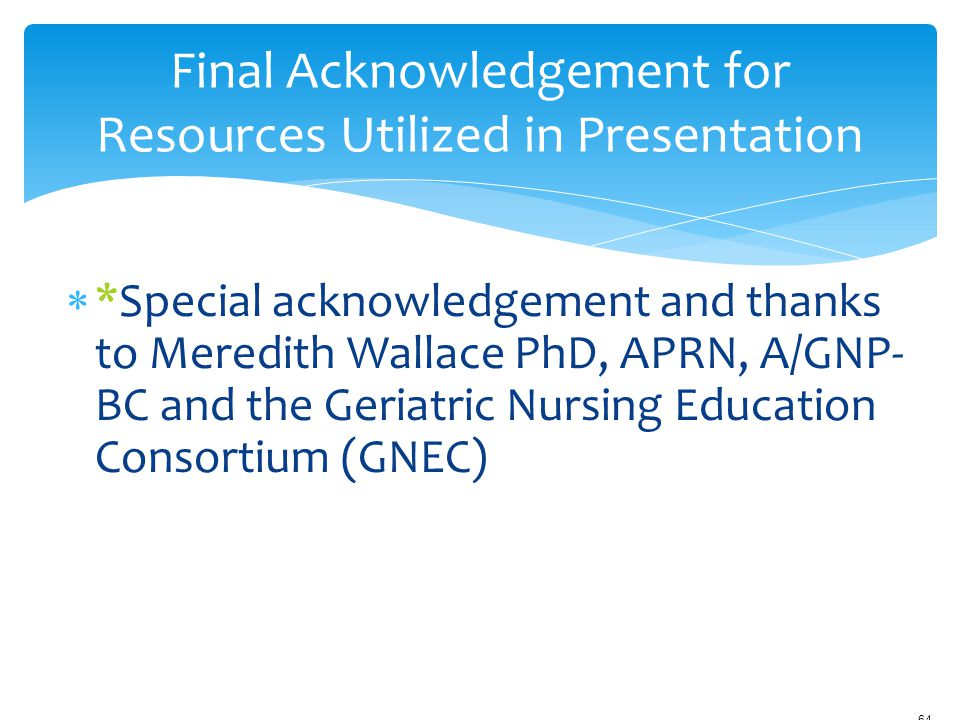 *Special acknowledgement and thanks to Meredith Wallace PhD, APRN, A/GNP- BC and the Geriatric Nursing Education Consortium (GNEC) 12/18/2006 9:45am
