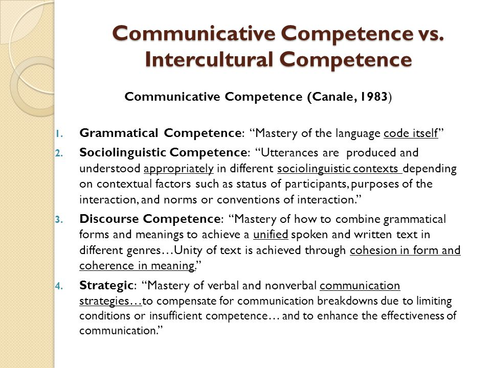 Communicative Competence vs.Intercultural Competence Communicative Competence (Canale, 1983) 1.