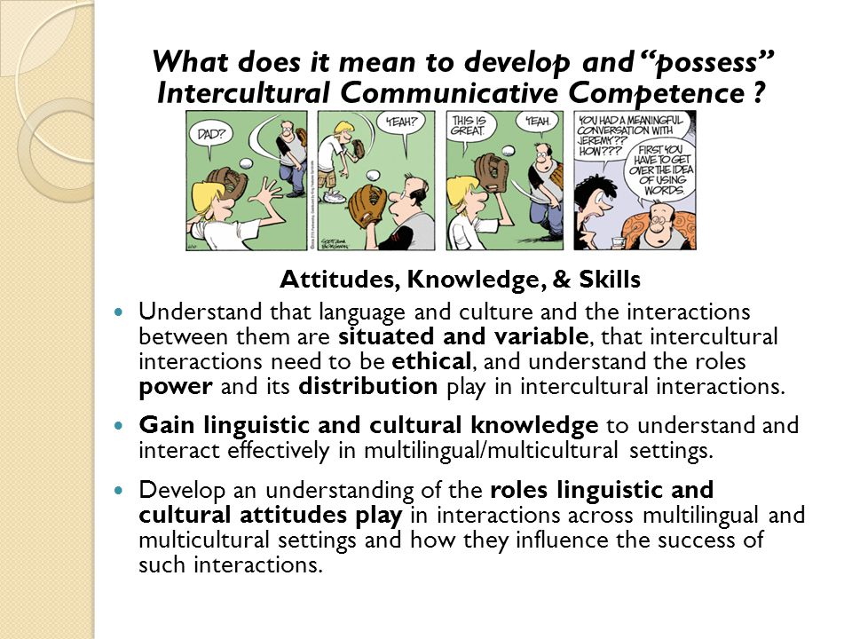 What does it mean to develop and possess Intercultural Communicative Competence .