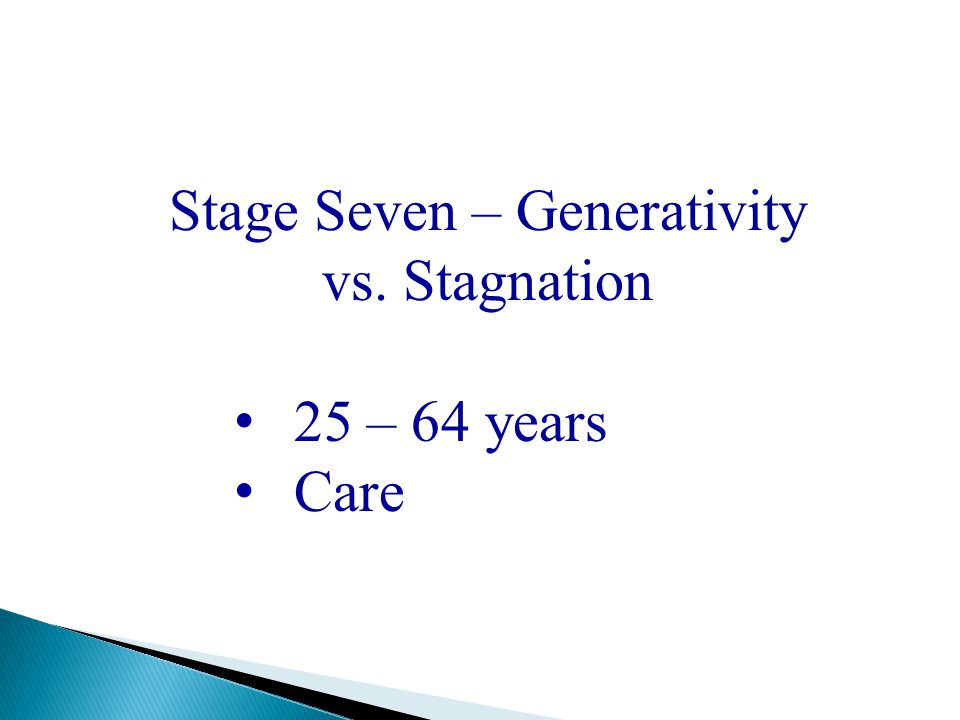Stage Seven – Generativity vs. Stagnation 25 – 64 years Care