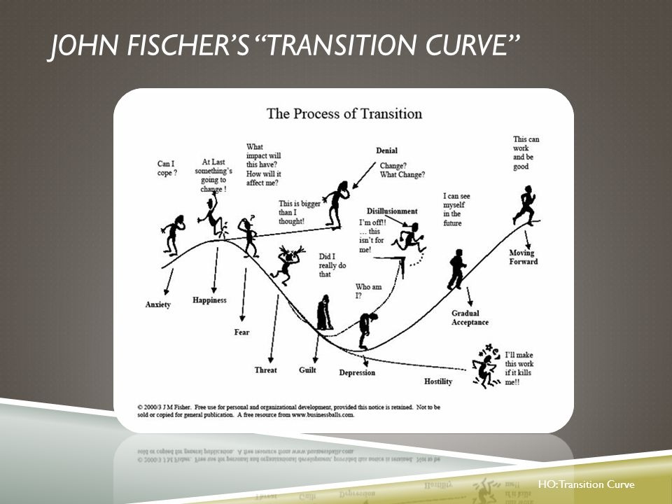TRANSITIONS UNIVERSAL PROCESS Phases of Transition (Bridges, 2004)  An Ending  letting go  Period of Confusion/Distress/Chaos  neutral zone  A New Beginning  new way of being HO: Personal Transition Reflection