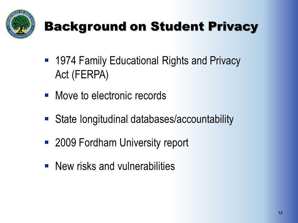 Background on Student Privacy  1974 Family Educational Rights and Privacy Act (FERPA)  Move to electronic records  State longitudinal databases/acc