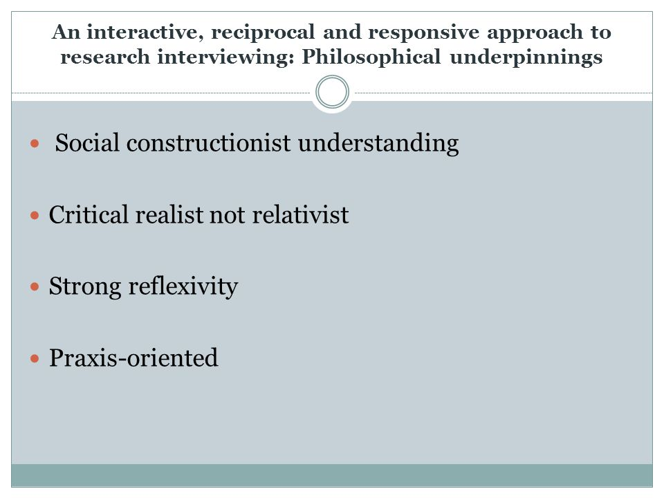 An interactive, reciprocal and responsive approach to research interviewing: Philosophical underpinnings Social constructionist understanding Critical