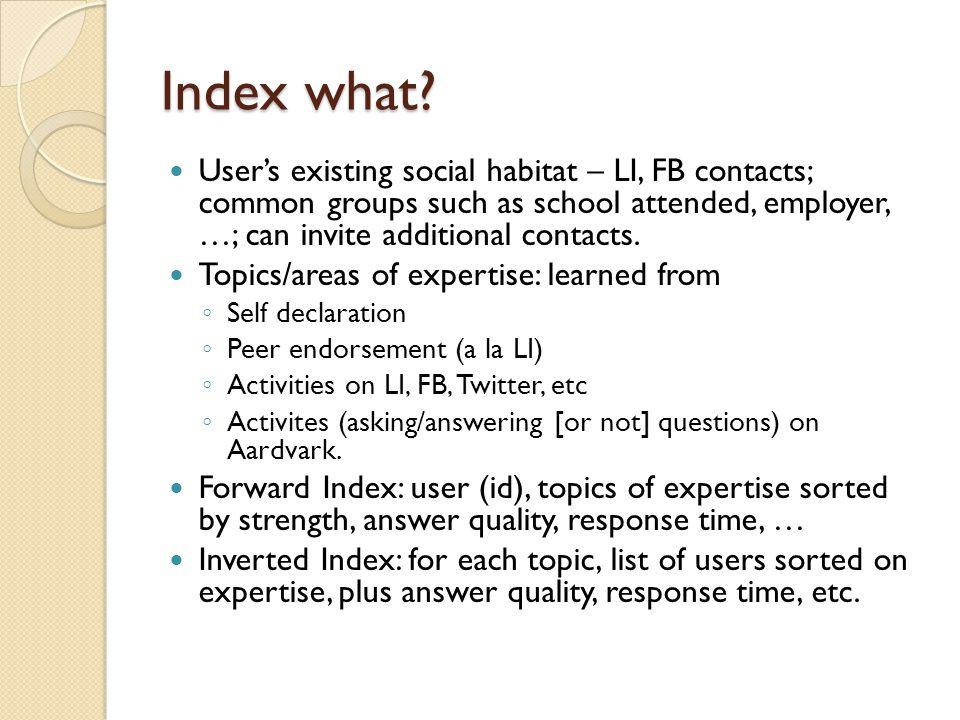 Index what.