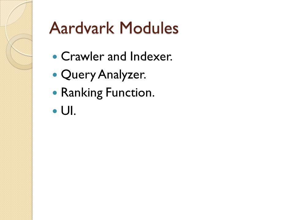 Aardvark Modules Crawler and Indexer. Query Analyzer. Ranking Function. UI.