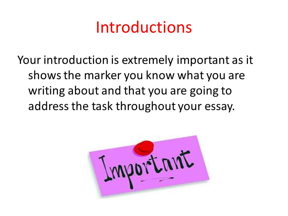 Introductions Your introduction is extremely important as it shows the marker you know what you are writing about and that you are going to address the task throughout your essay.