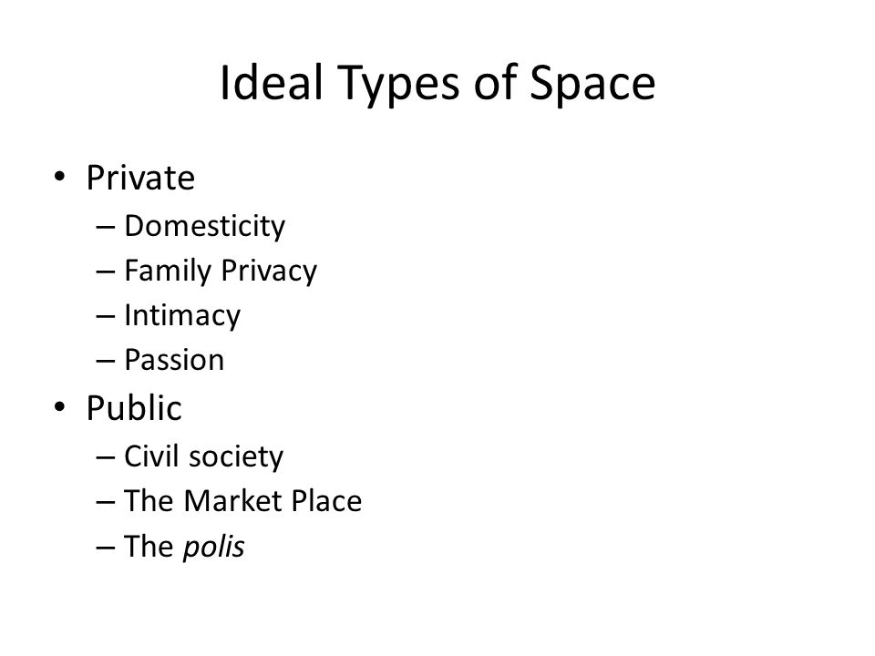 Ideal Types of Space Private – Domesticity – Family Privacy – Intimacy – Passion Public – Civil society – The Market Place – The polis