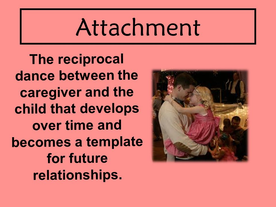 Attachment The reciprocal dance between the caregiver and the child that develops over time and becomes a template for future relationships.