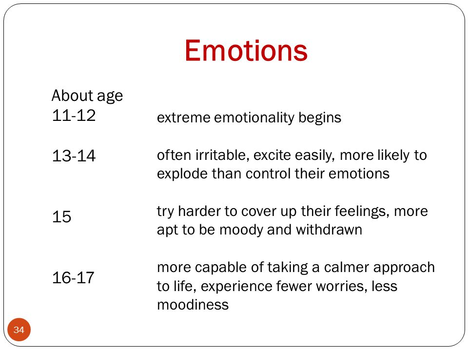 Emotions About age 11-12 13-14 15 16-17 34 extreme emotionality begins often irritable, excite easily, more likely to explode than control their emotions try harder to cover up their feelings, more apt to be moody and withdrawn more capable of taking a calmer approach to life, experience fewer worries, less moodiness