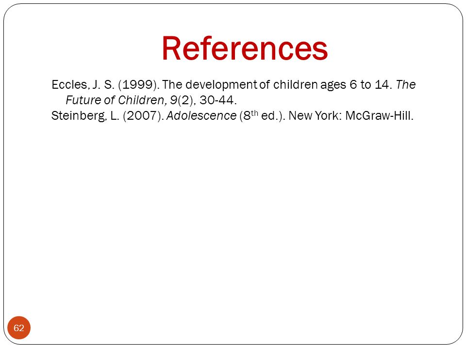 References Eccles, J.S. (1999). The development of children ages 6 to 14.