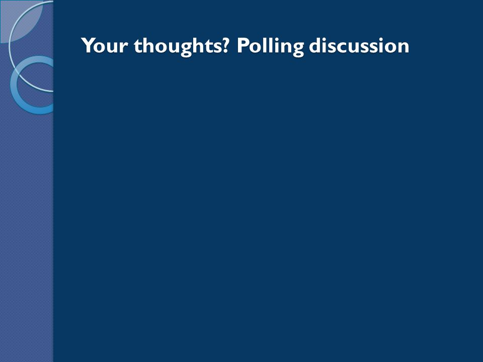 Your thoughts? Polling discussion