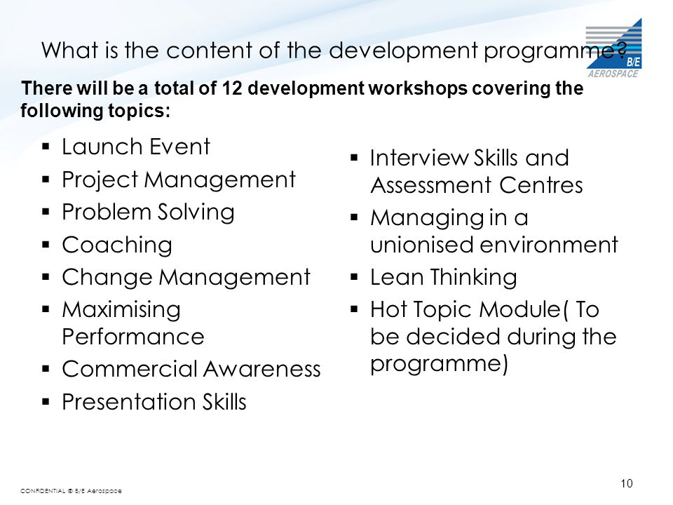 CONFIDENTIAL © B/E Aerospace What is the content of the development programme?  Launch Event  Project Management  Problem Solving  Coaching  Chan
