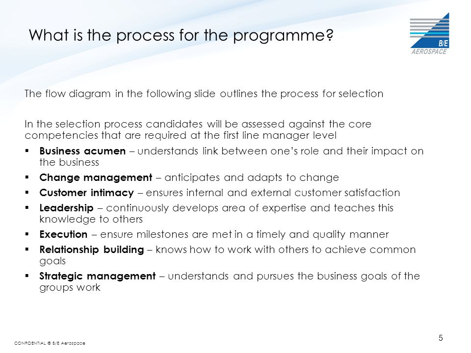 CONFIDENTIAL © B/E Aerospace 5 What is the process for the programme? The flow diagram in the following slide outlines the process for selection In th