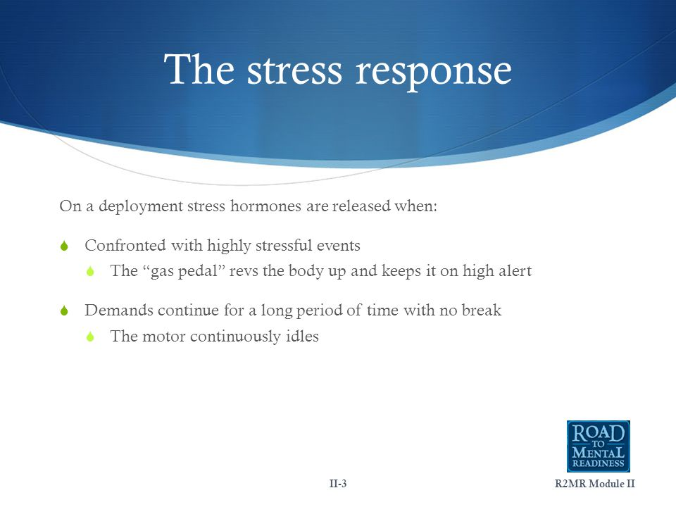 The stress response On a deployment stress hormones are released when:  Confronted with highly stressful events  The gas pedal revs the body up and keeps it on high alert  Demands continue for a long period of time with no break  The motor continuously idles II-3R2MR Module II