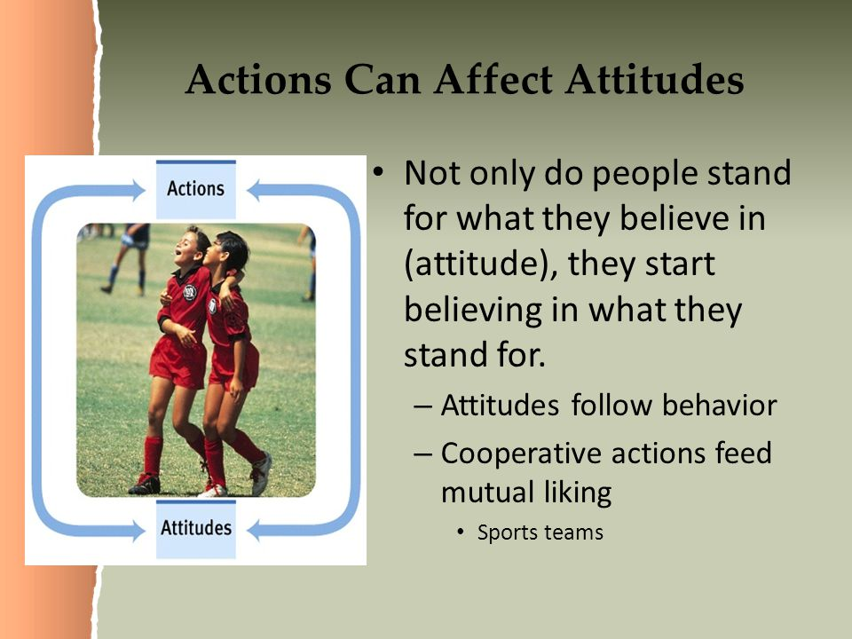 Actions Can Affect Attitudes Not only do people stand for what they believe in (attitude), they start believing in what they stand for.