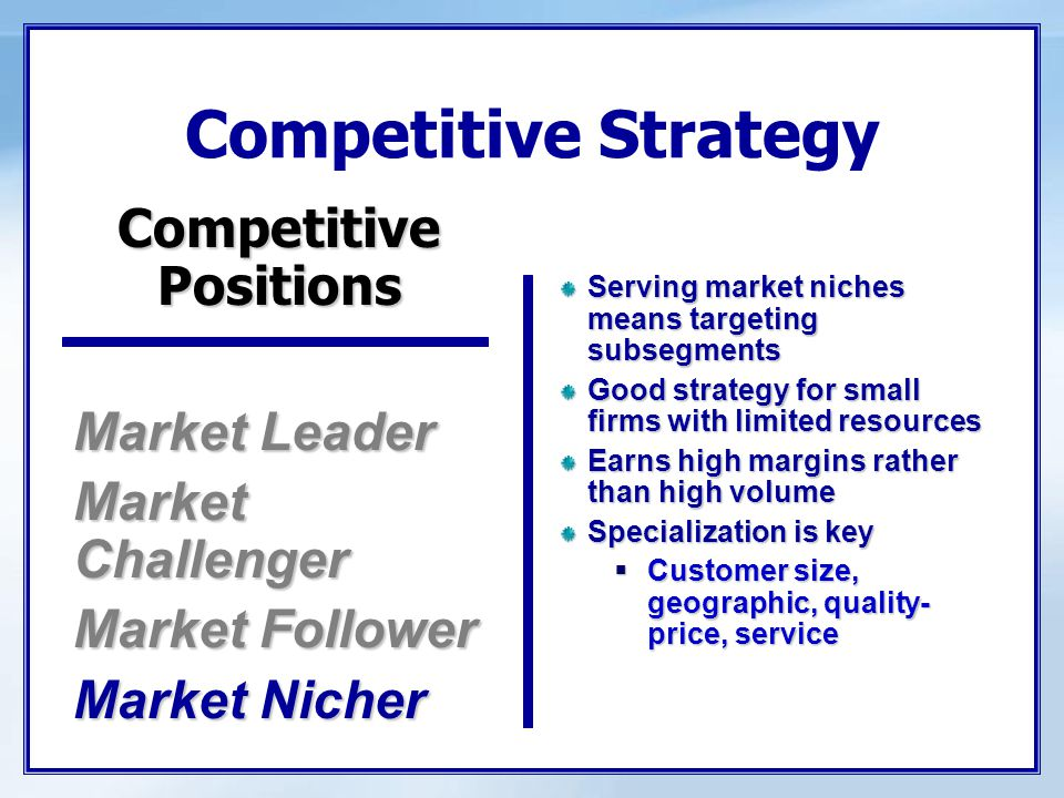Competitive Strategy Market Leader Market Challenger Market Follower Market Nicher Serving market niches means targeting subsegments Good strategy for
