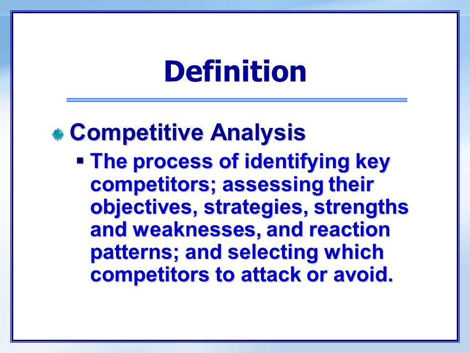 Steps in Analyzing Competitors