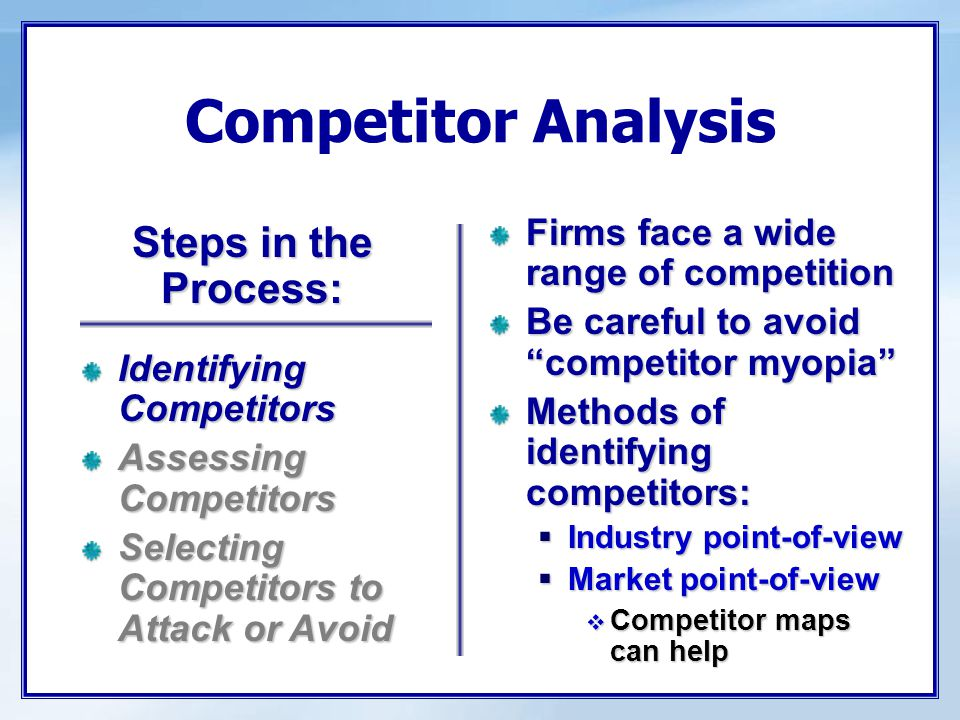 """Competitor Analysis Firms face a wide range of competition Be careful to avoid """"competitor myopia"""" Methods of identifying competitors:  Industry poin"""