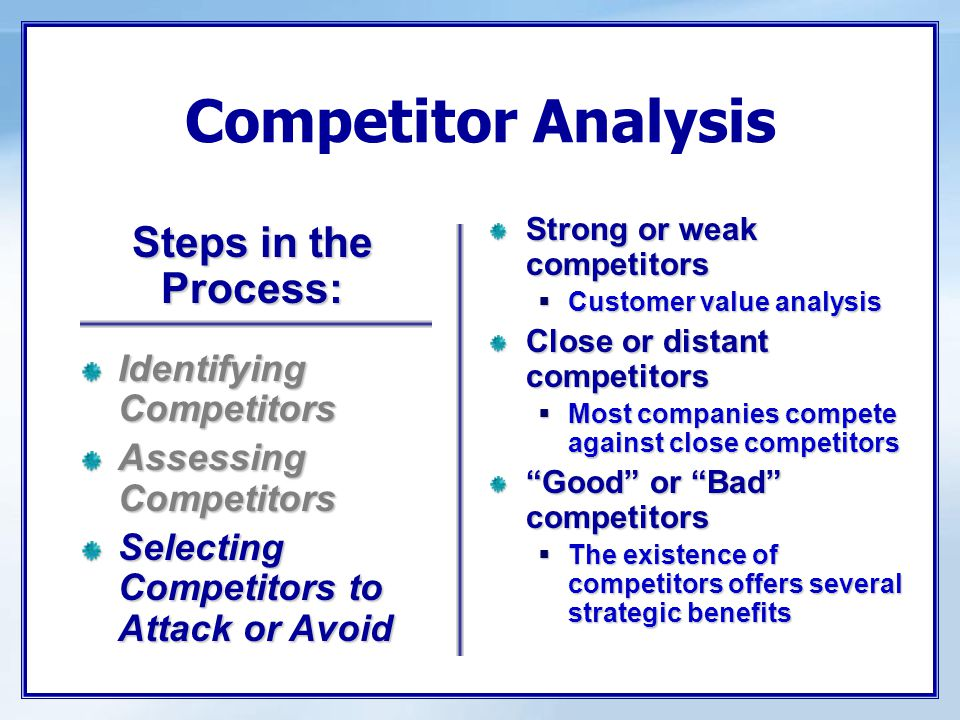 Competitor Analysis Strong or weak competitors  Customer value analysis Close or distant competitors  Most companies compete against close competito