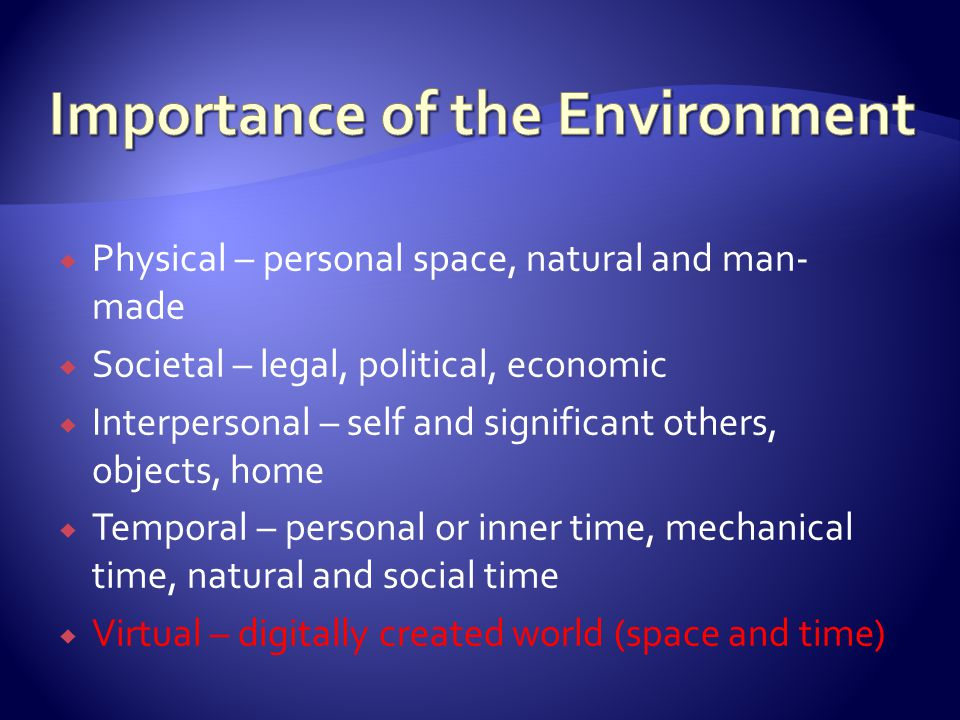  Physical – personal space, natural and man- made  Societal – legal, political, economic  Interpersonal – self and significant others, objects, hom