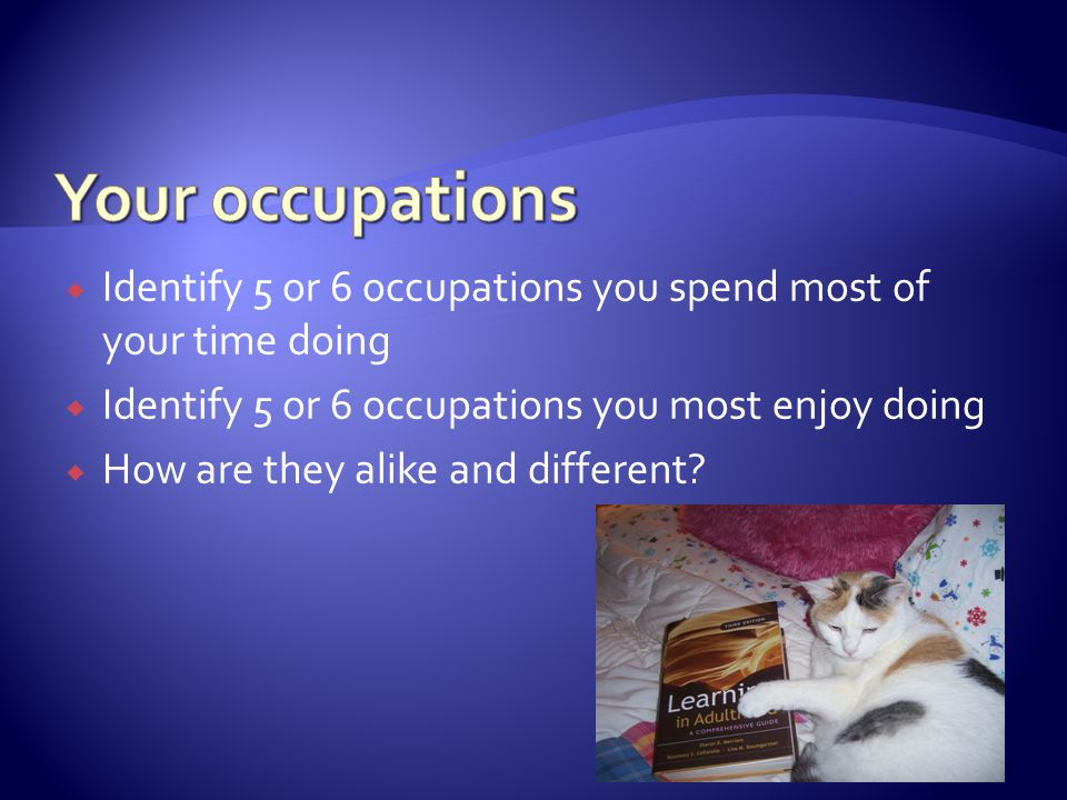  Identify 5 or 6 occupations you spend most of your time doing  Identify 5 or 6 occupations you most enjoy doing  How are they alike and different?