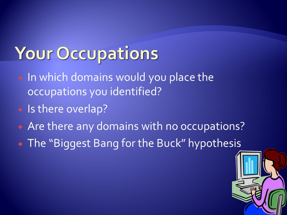 """ In which domains would you place the occupations you identified?  Is there overlap?  Are there any domains with no occupations?  The """"Biggest Ban"""