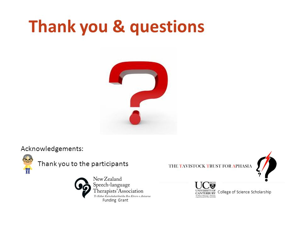 Thank you & questions Acknowledgements: Funding Grant Thank you to the participants College of Science Scholarship