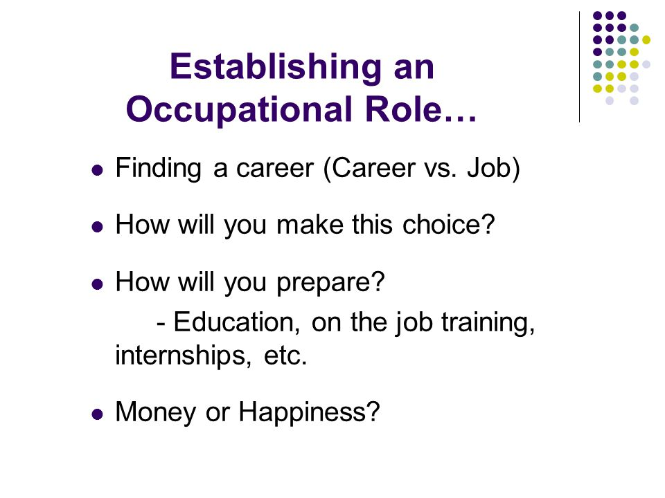 Establishing an Occupational Role… Finding a career (Career vs.