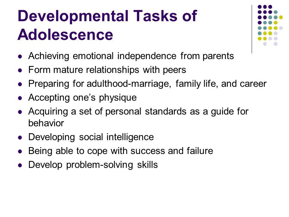 Developmental Tasks of Adolescence Place a check next to the developmental tasks you have already accomplished.