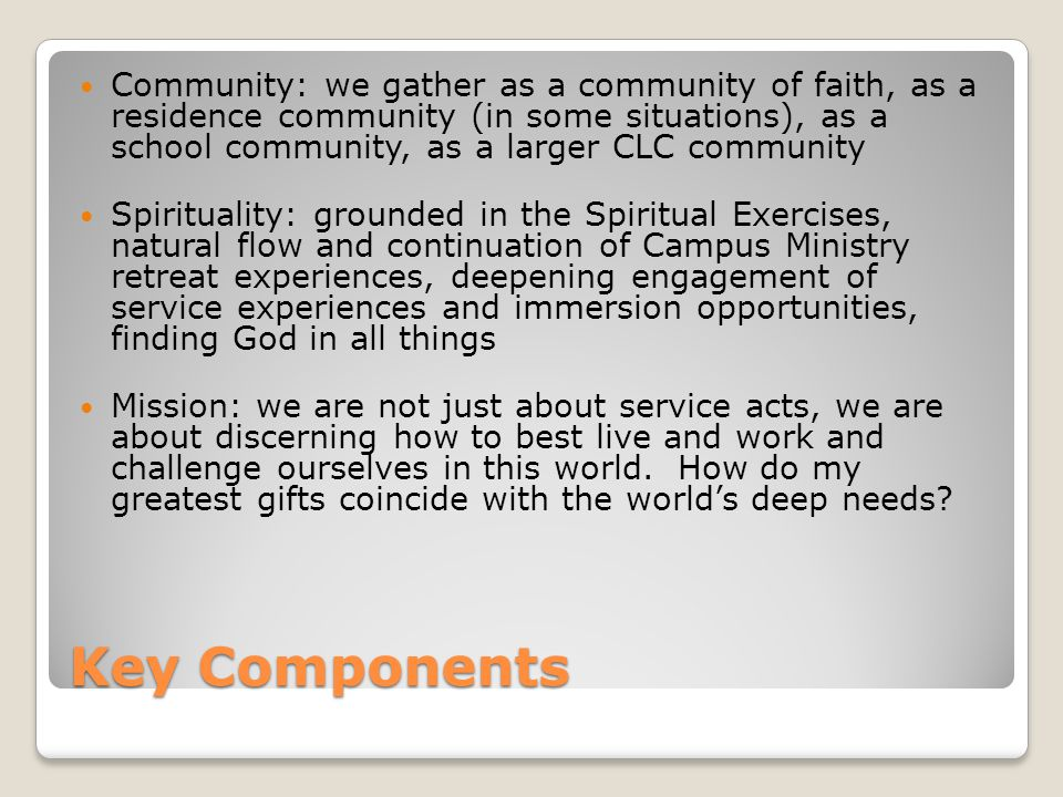 Key Components Community: we gather as a community of faith, as a residence community (in some situations), as a school community, as a larger CLC community Spirituality: grounded in the Spiritual Exercises, natural flow and continuation of Campus Ministry retreat experiences, deepening engagement of service experiences and immersion opportunities, finding God in all things Mission: we are not just about service acts, we are about discerning how to best live and work and challenge ourselves in this world.