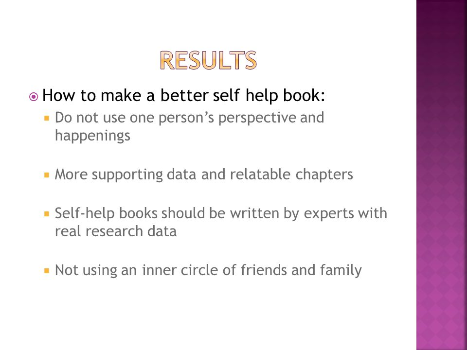  How to make a better self help book:  Do not use one person's perspective and happenings  More supporting data and relatable chapters  Self-help