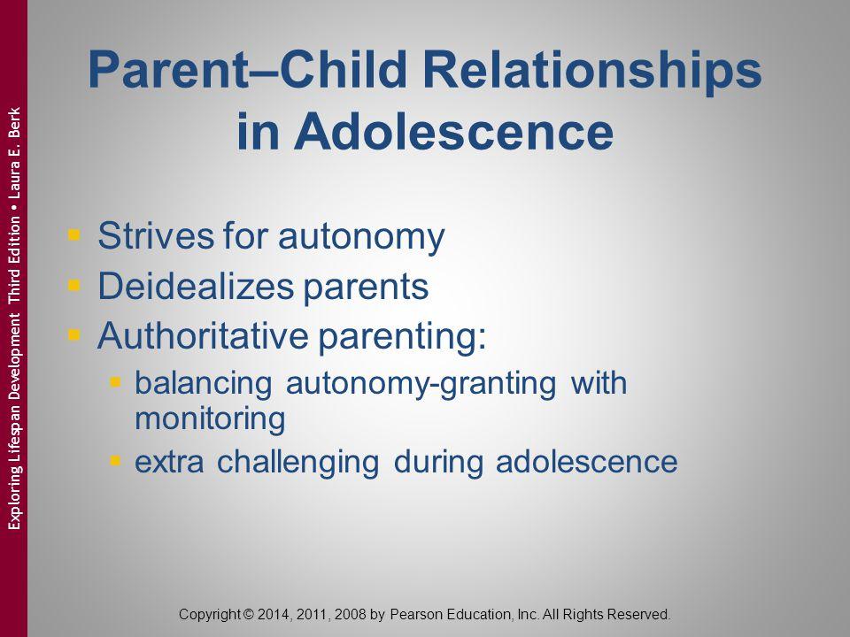 Parent–Child Relationships in Adolescence  Strives for autonomy  Deidealizes parents  Authoritative parenting:  balancing autonomy-granting with m